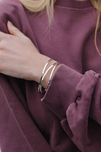 Silver Hammered Stacked Bangle