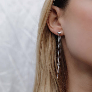 Load image into Gallery viewer, Silver Faceted Bead Chain Stud Earrings