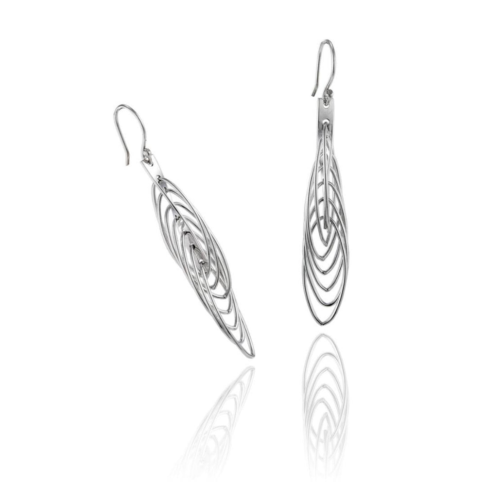 Load image into Gallery viewer, Silver Looped Drop Earrings