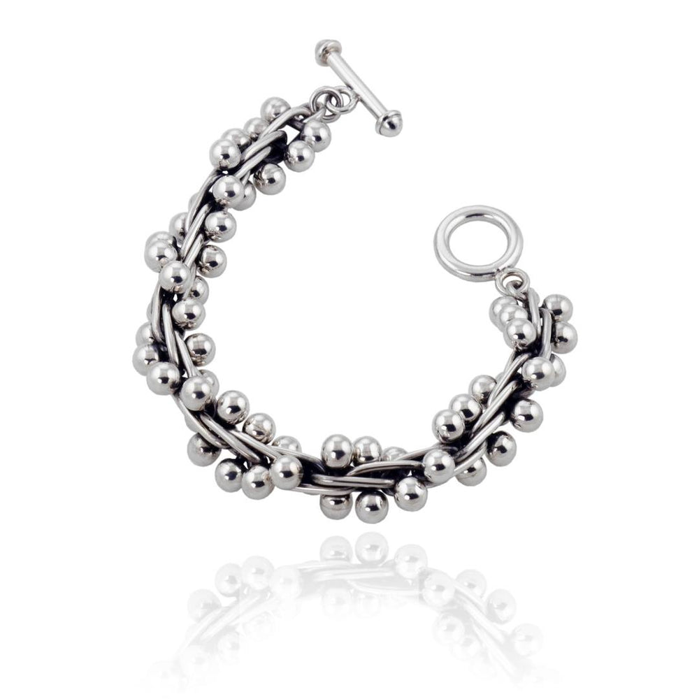 Silver Oxidised Bead Peppercorn Bracelet