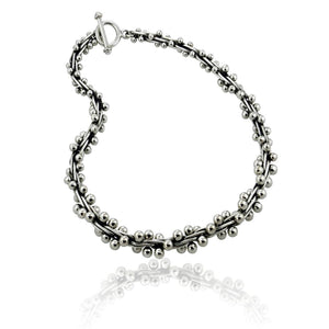 Load image into Gallery viewer, Silver Oxidised Bead Peppercorn Necklace
