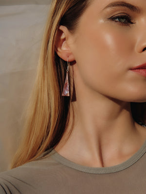 Load image into Gallery viewer, Silver and Pink Mother Of Pearl Triangular Earrings