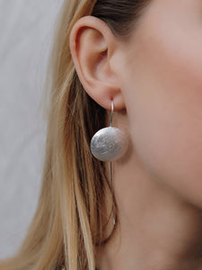Silver Satinised Disc Cable Earrings