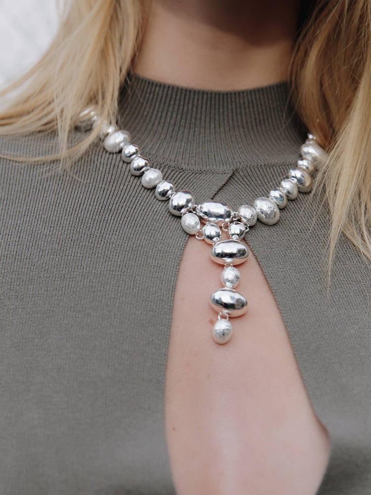Load image into Gallery viewer, Silver Triple Texture Cascading Necklace
