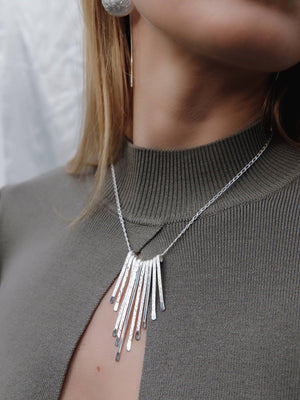 Load image into Gallery viewer, Silver Triple Textured Bar Necklace