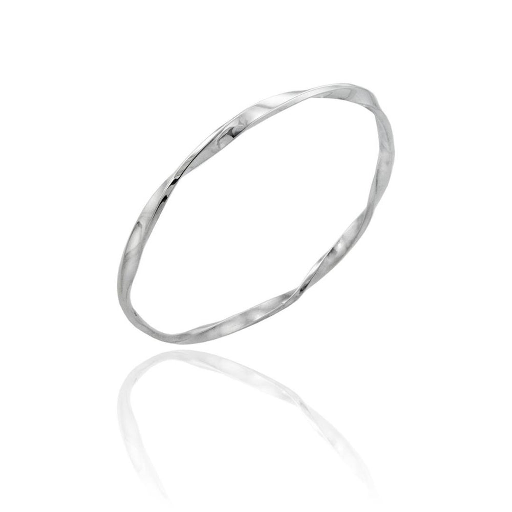 Silver Narrow Twist Bangle