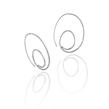 Load image into Gallery viewer, Silver Hammered Curled Hoops