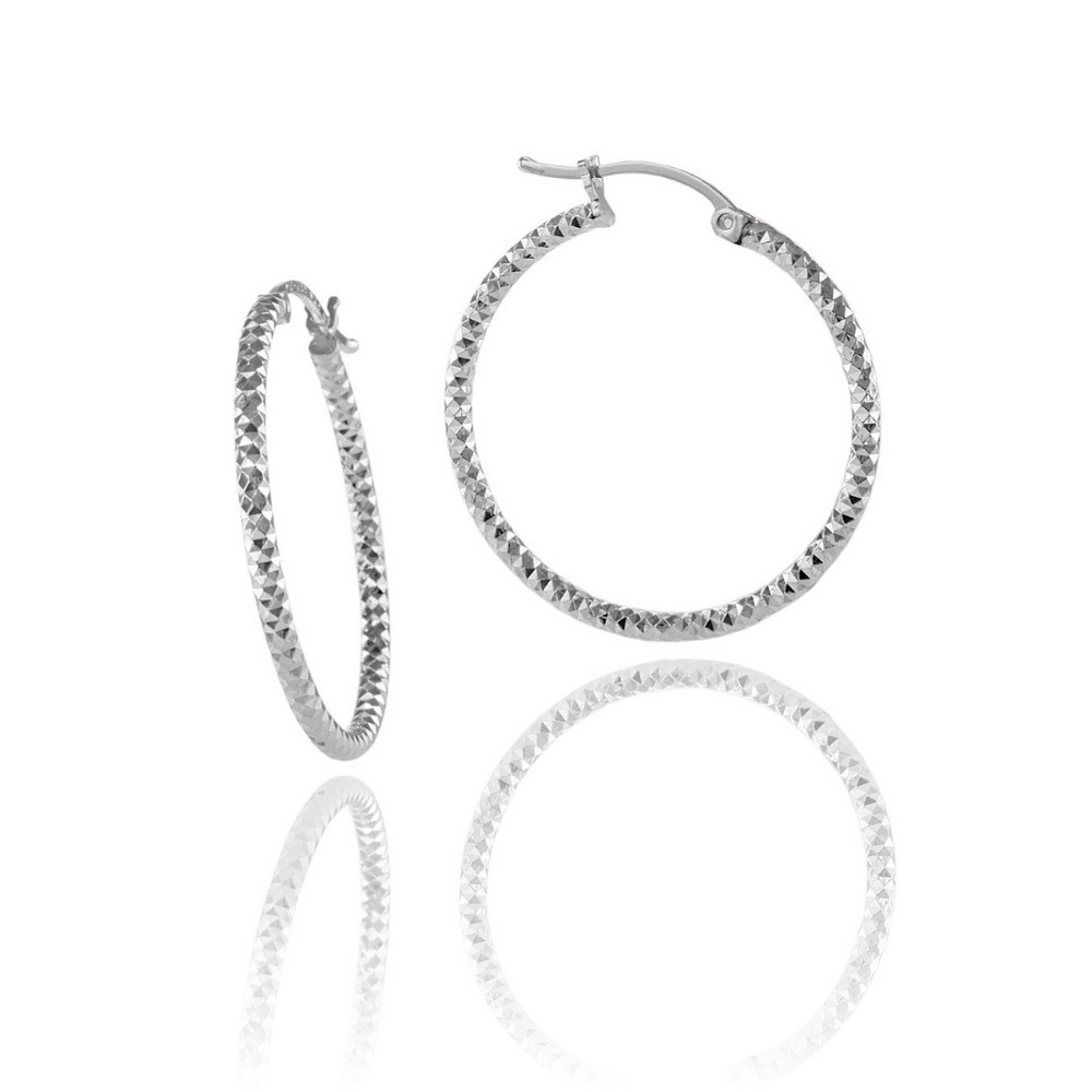Silver Faceted Sparkly Hoop Earrings