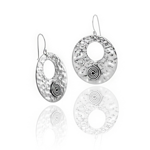 Load image into Gallery viewer, Silver Hammered Disc Swirl Drop Earrings