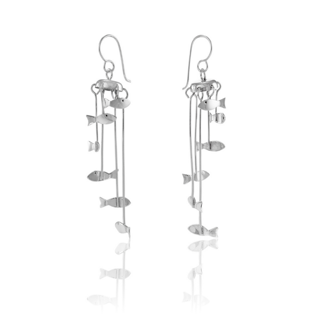 Load image into Gallery viewer, Silver Fish Mobile Earrings