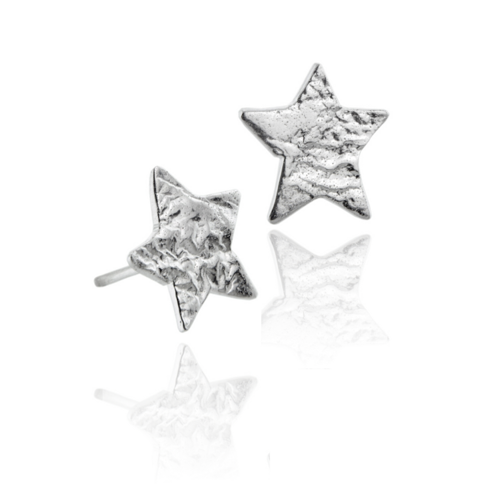 Silver Organic Textured Star Stud Earrings