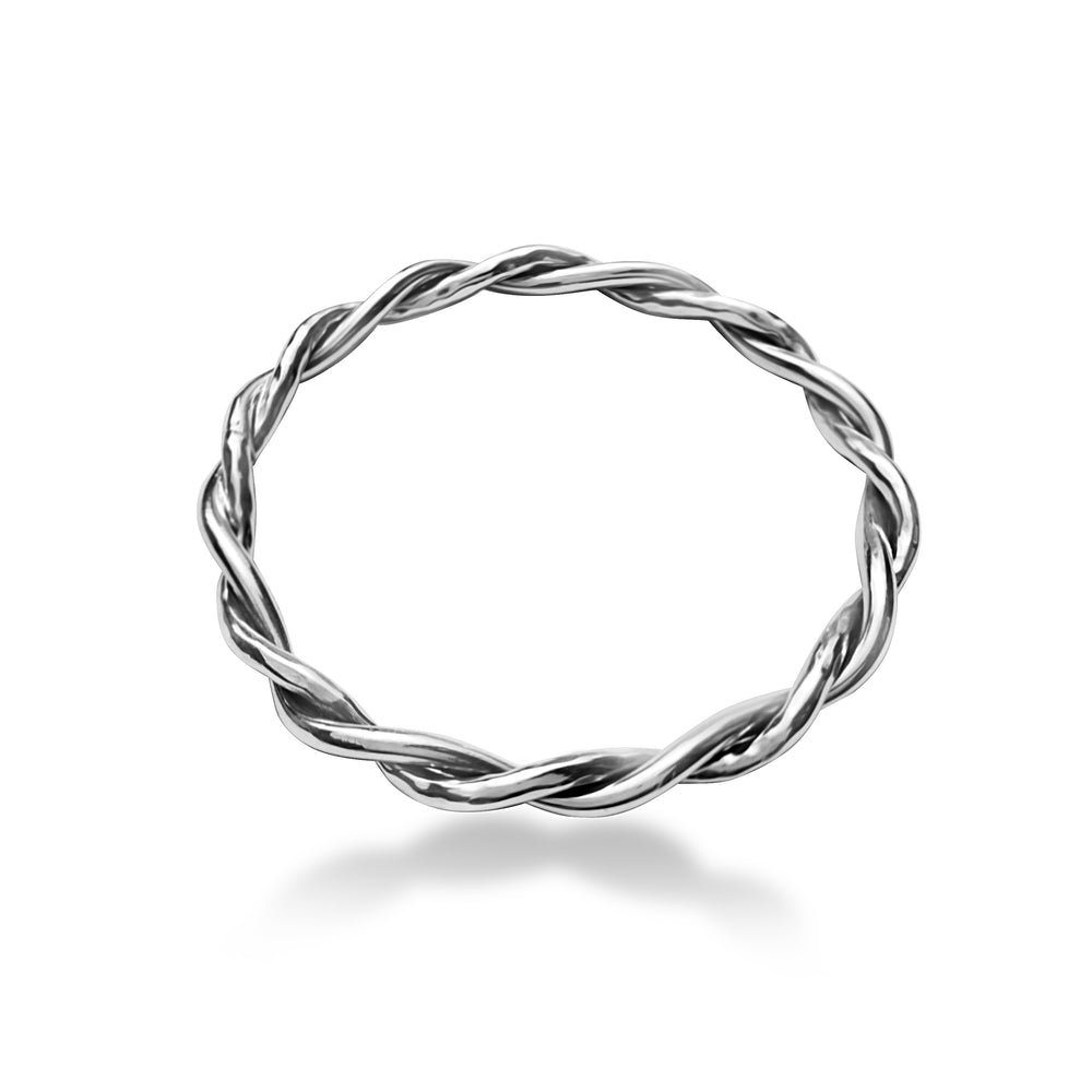 Silver Twisted Hammered and Polished Tube Bangle