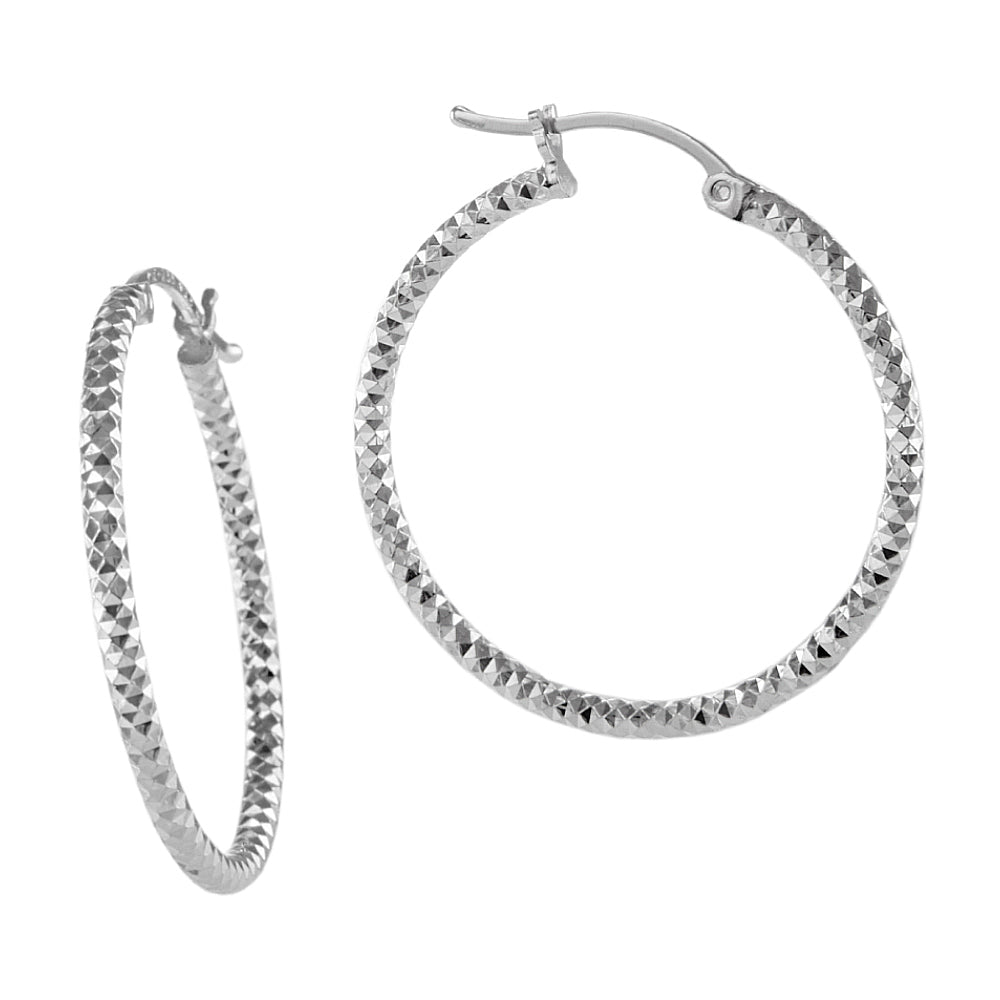 Load image into Gallery viewer, Silver Faceted Sparkly Hoop Earrings