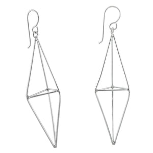 Load image into Gallery viewer, Silver Geometric Drop Earrings