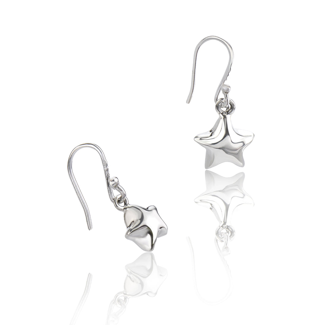 Silver Mini Puffed Star Drop Earrings
