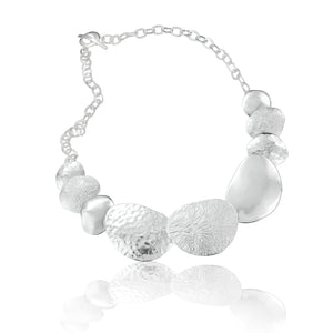 Silver Multi Textured Pebble Necklace