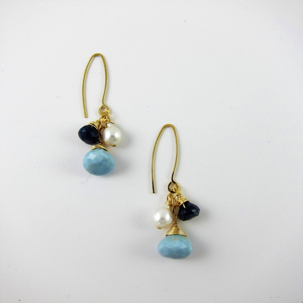 Blue Labrodorite, African Blue Opal and Baby Baroque Earrings