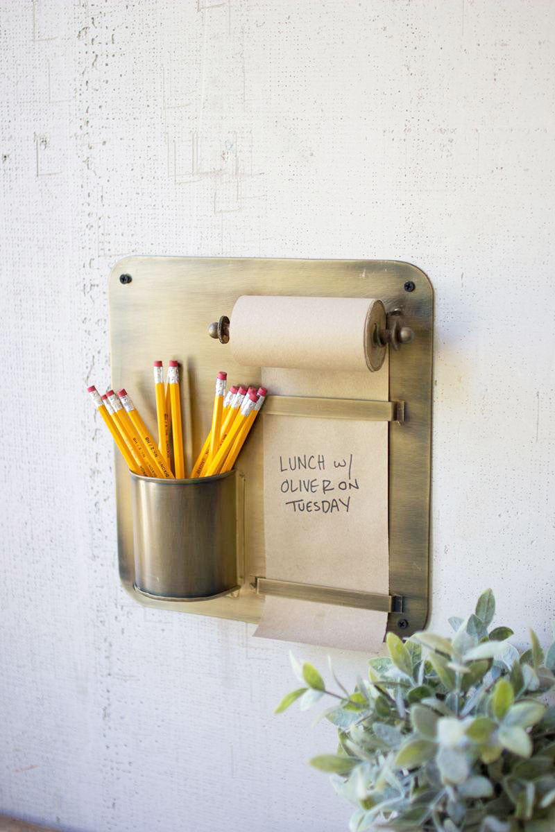 Hanging Note Roll w/ Antique Brass Wall Rack