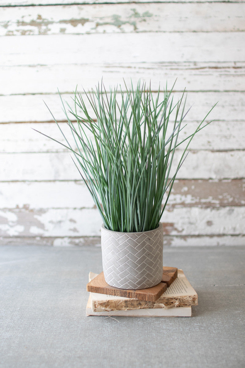 Faux Grass in Herringbone Pot
