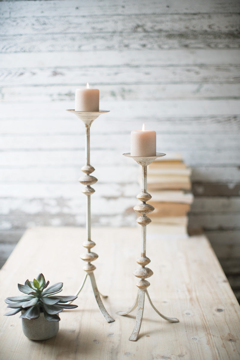 Painted Metal Candlestick