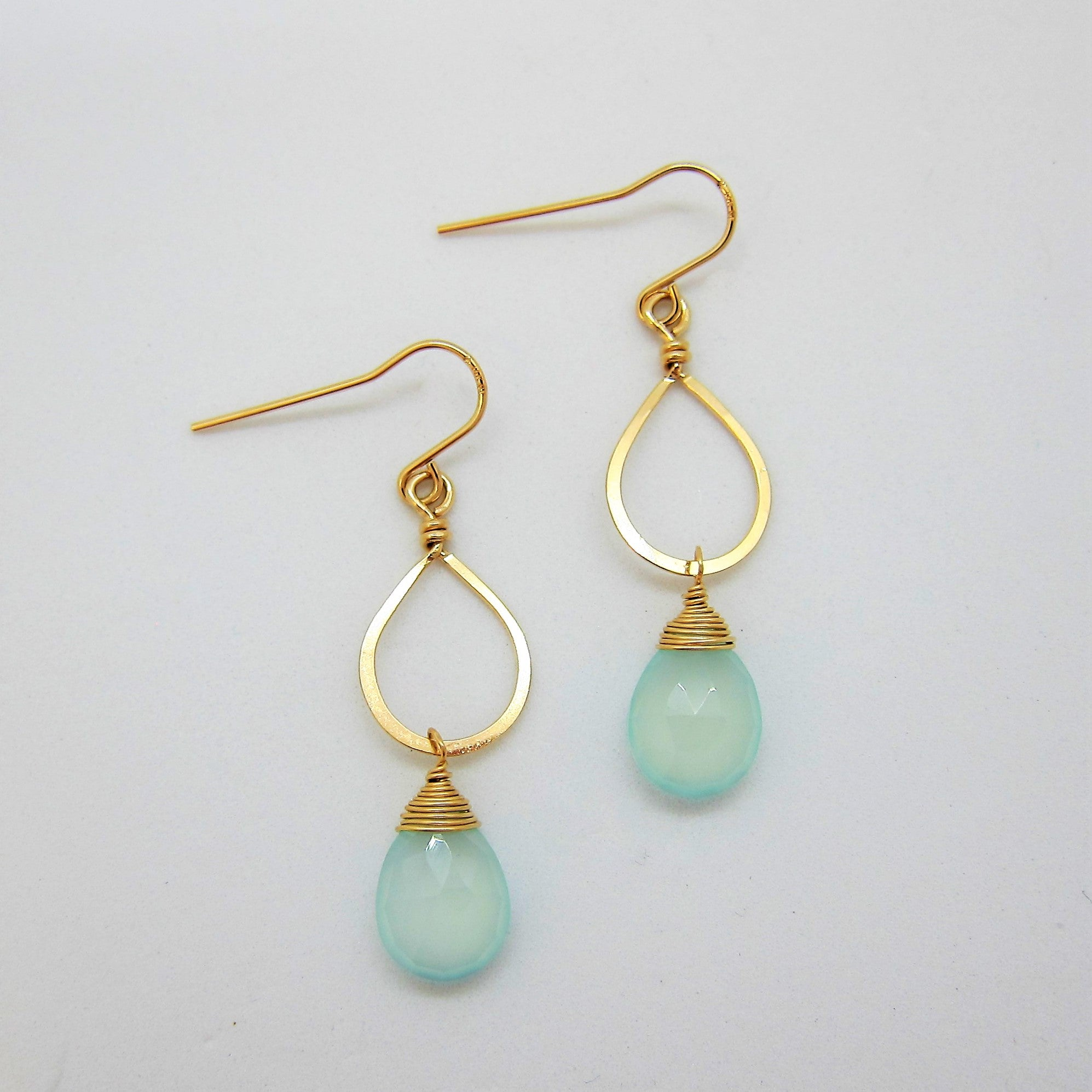 14kg Hand-Forged Aqua Chalcedony Earrings