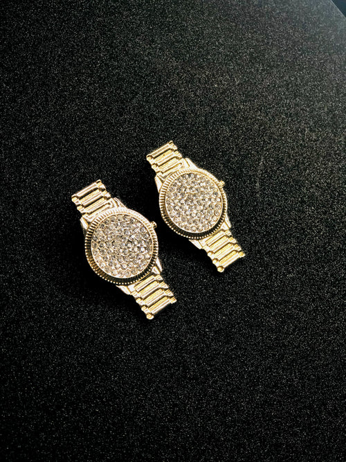 Don't Waste My Time Gold Watch Earrings