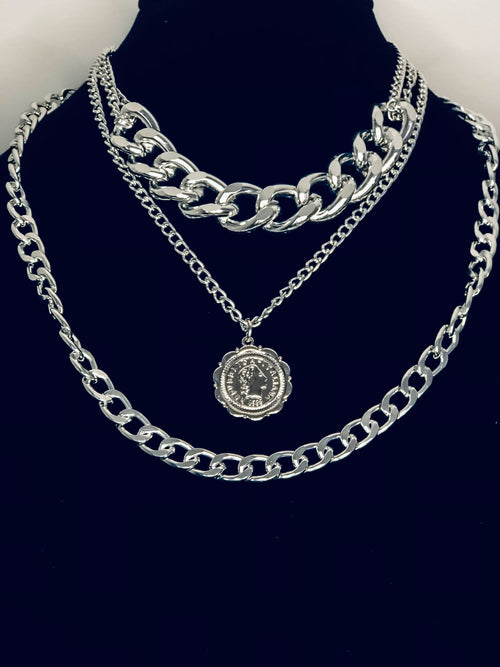 Two Links and a Coin Layered Necklace