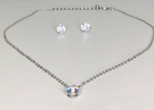 Rhinestone Pendant Necklace Set