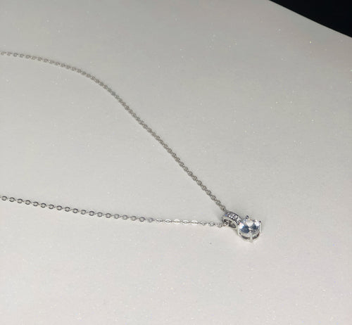 Simple Rhinestone Pendant Necklace