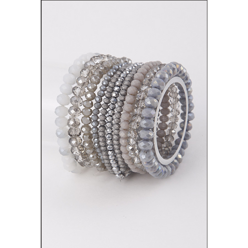 Crystalized Beaded Bracelet Stack
