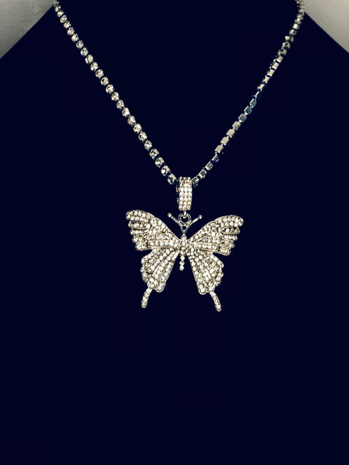 Iced Out Butterfly Necklace & Choker