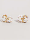 Interlock Pearl and Gold Post Earrings