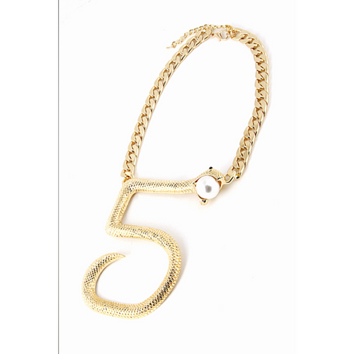 Designer-Inspired Numeral 5 Statement Necklace