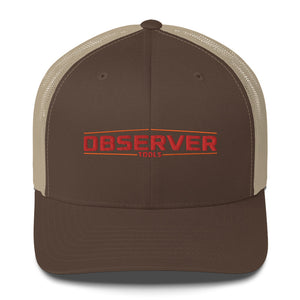 Trucker Cap - Orange Embroidered Logo - Observer Tools