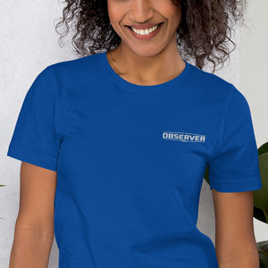Women's Classic-Fit T-Shirt - White Embroidered Logo - Observer Tools