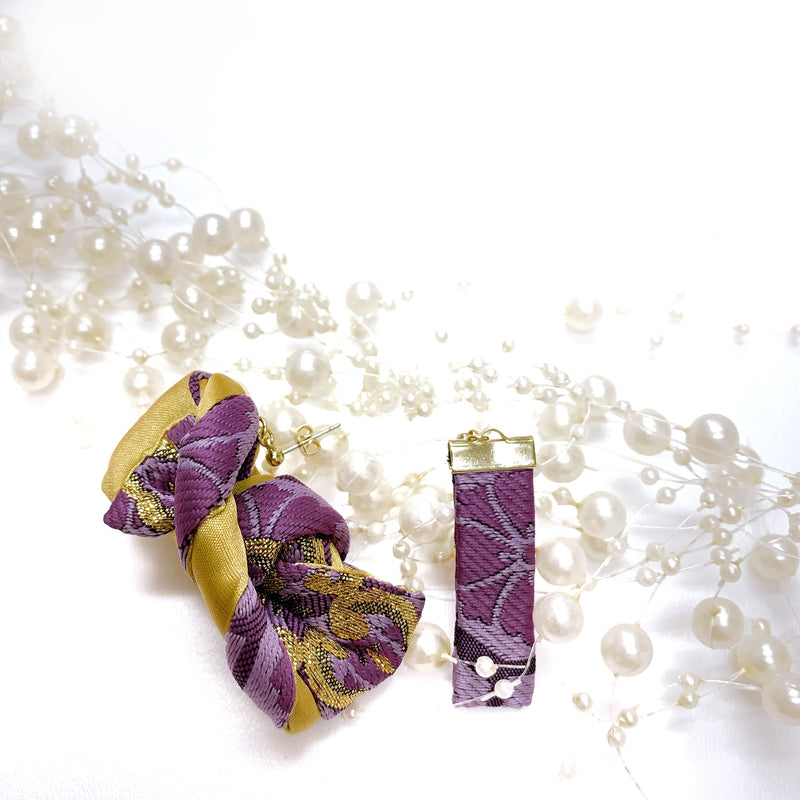 "Pierced Earrings & Ring ""Hajime"" in purple"