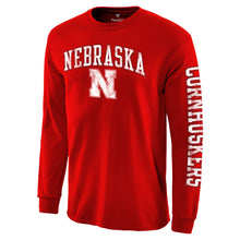 Load image into Gallery viewer, Nebraska Men's Distressed Arch Over Logo Long Sleeve Hit T-Shirt