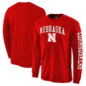 Nebraska Men's Distressed Arch Over Logo Long Sleeve Hit T-Shirt