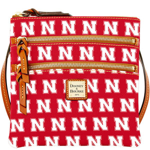 Nebraska Dooney & Bourke Women's Triple-Zip Crossbody Purse - Scarlet