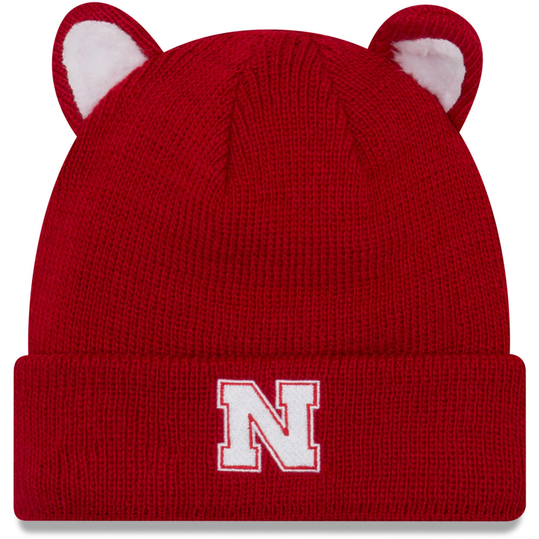 Nebraska New Era Youth Cozy Cutie Cuffed Knit Hat - Scarlet