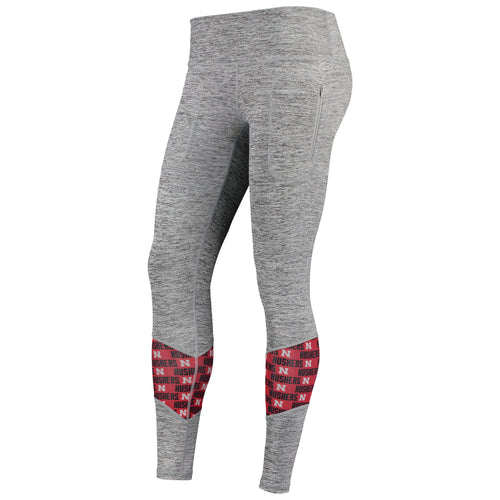 Nebraska Womens Vitalize Color Mesh Insert Pocketed Legging