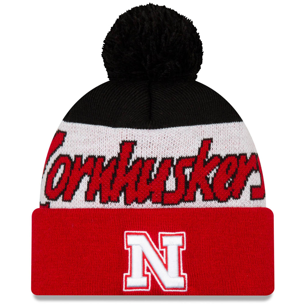 Nebraska Script Cuffed Knit Hat with Pom - Scarlet