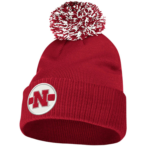 Nebraska Men's Adidas Scarlet Sideline Coaches Cuffed Knit Hat with Pom