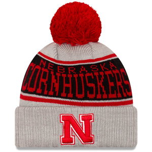 Nebraska Stripe Cuffed Knit Hat with Pom - Gray