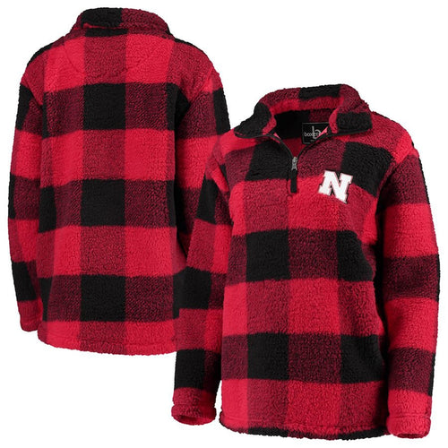 Nebraska Women's Plaid Sherpa 1/4 Zip-Red