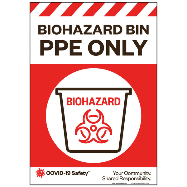 "Biohazard Bin PPE Only, Large (12""x17.25"")"
