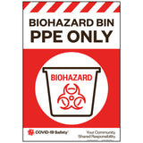 "Biohazard Bin PPE Only, Small (8""x11.5"")"