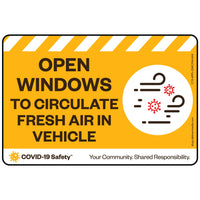 "Open Windows to Circulate Fresh Air in Vehicle (6""x4"")"