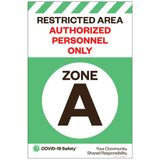 "Restricted Area Zone A, for Sandwich Board (24""x36"")"