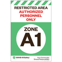 "Restricted Area Zone A1, for Sandwich Board (24""x36"")"